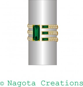 Yellow Gold - Men Ring with Emerald and Diamond