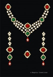 Kundan Meena Haar -  Emerald Ruby and Diamond Polkis with 24 Carat Gold