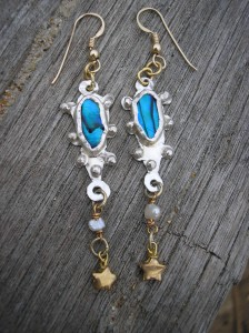 Blue abalone and gold star earrings