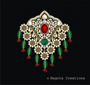 Kundan Meena - Patria Haar Heavy Pendant with Emerald , Ruby and Diamond Polki