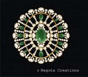 Kundan Meena - Pendant with Diamond Polki and Emerald.
