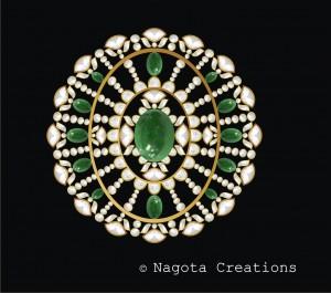 Kundan Meena - Pendant with Diamond Polki and Emerald.
