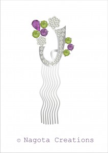 Silver - Hair Pin with Peridot , Amethyst and Diamonds