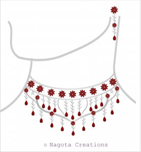 White Gold - Bridal Set with Ruby and Diamond.