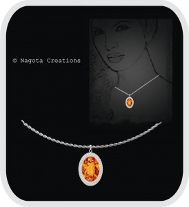 White Gold - Pendant with Citrine and Diamonds
