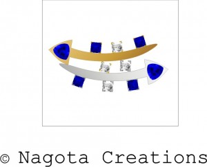 White Gold and Yellow Gold - Tie Pin with Blue Sapphire and Diamonds.