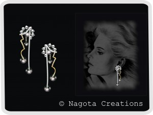 White Gold and Yellow Gold - Unique Danglers with Pearls and Diamonds.