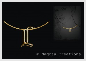 Yellow Gold - Alphabet Pendant of Diamond.