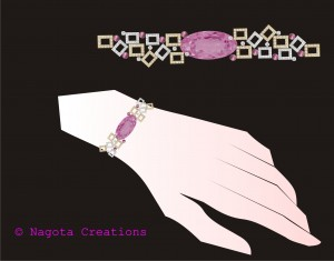 Yellow Gold and White Gold - Bracelet with Diamonds and Pink Tourmaline.