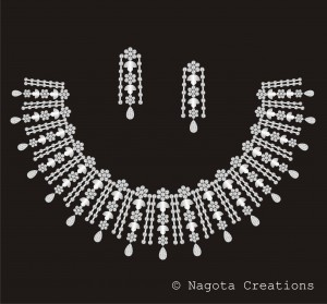Bridal Necklace Set with Diamonds and White Gold.