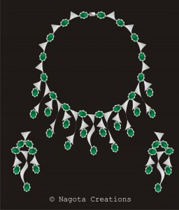 Bridal Necklace Set with White Gold , Diamonds and Emerald.