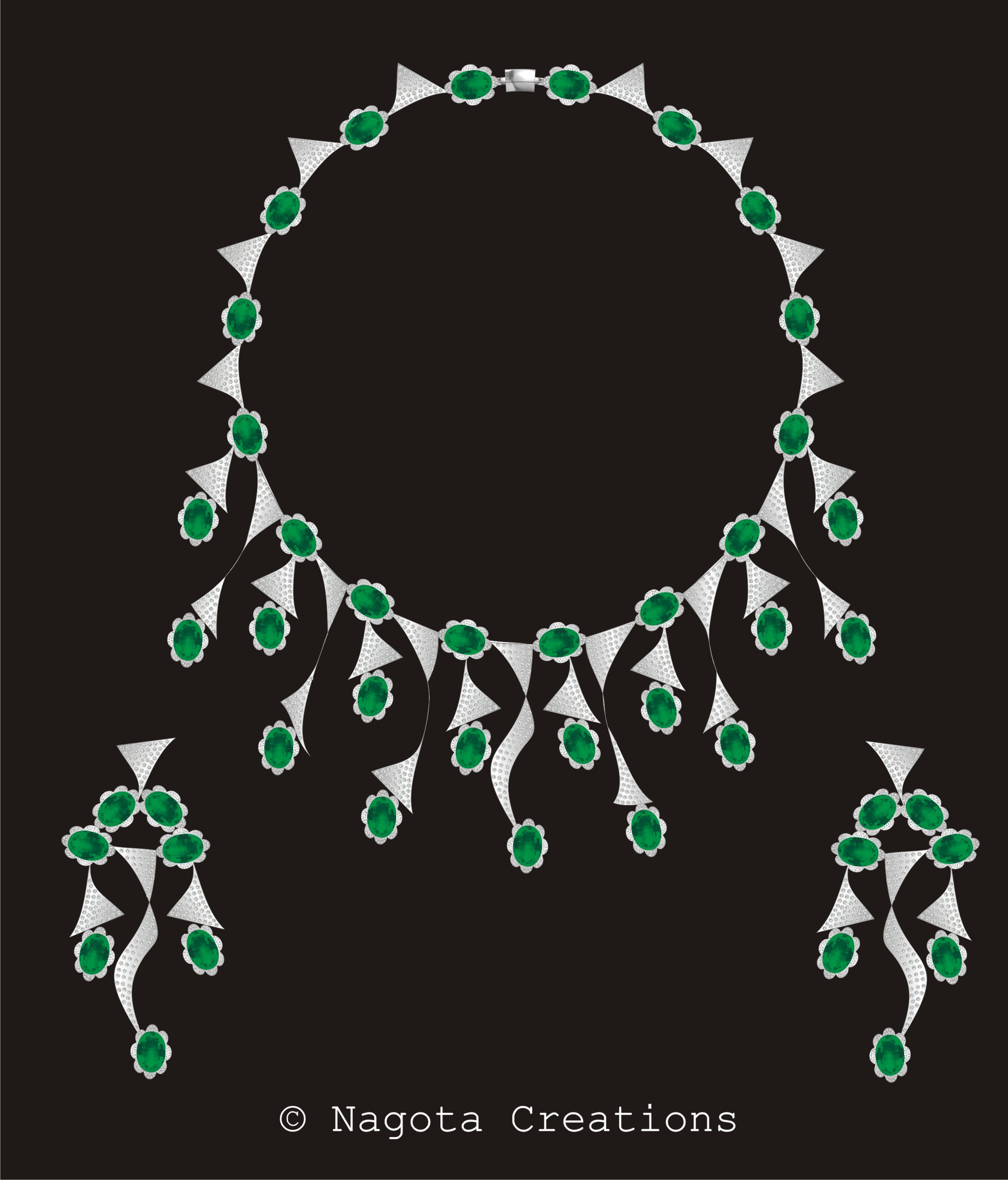 Bridal Necklace Set with Diamonds and Emeralds in white gold