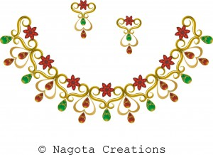 yellow gold - necklace set with ruby and emerald