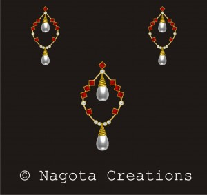 Yellow Gold - Pendant Set with Pearl , Ruby and Diamond.
