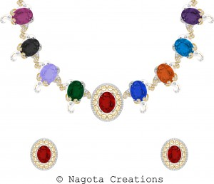 White Gold and Yellow Gold Necklace Set with Multiple Stones