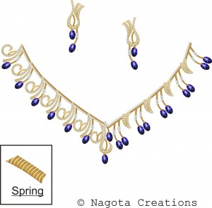 Spring Necklace Set with Yellow Gold ,  Star Blue Sapphire and Diamond