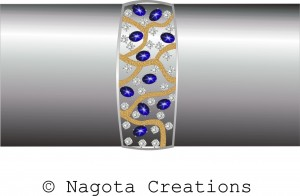 Fixed Bracelet with White Gold , Star Blue Sapphire , Diamonds and Matte Finish in Yellow Gold