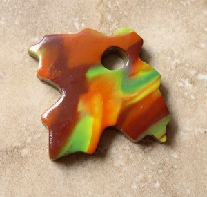 Maple Leaf Marbleized Polymer Clay Pendant