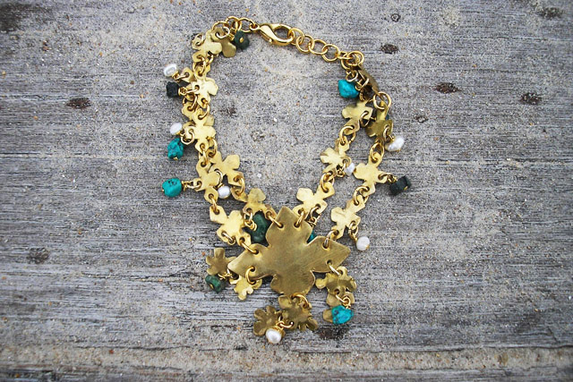 Brass,emerald,turquoise and pearl