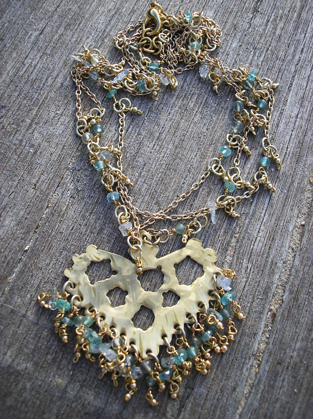 Brass,apatite,aquamarine and topaz necklace