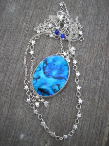 Blue abalone necklace and silver star necklace