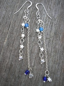 Silver star and blue agate bead earrings