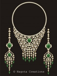 Kundan Meena - Bridal Necklace Set with Emerald and Diamond Polkis