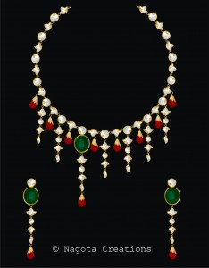 Unique and Stylish Kundan Meena Necklace Set with Emerald , Ruby and Diamond Polkis