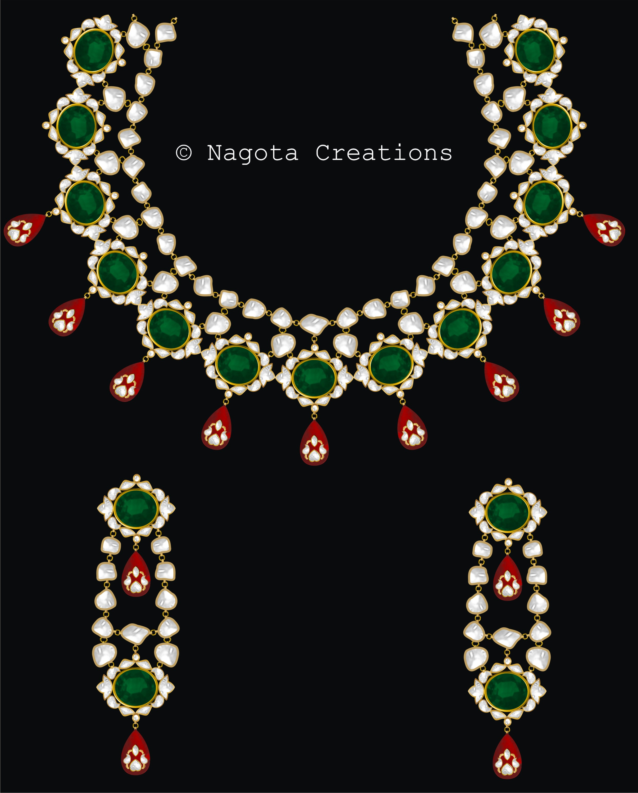 Kundan Meena – Bridal Necklace Set with Emerald Ruby and Diamond