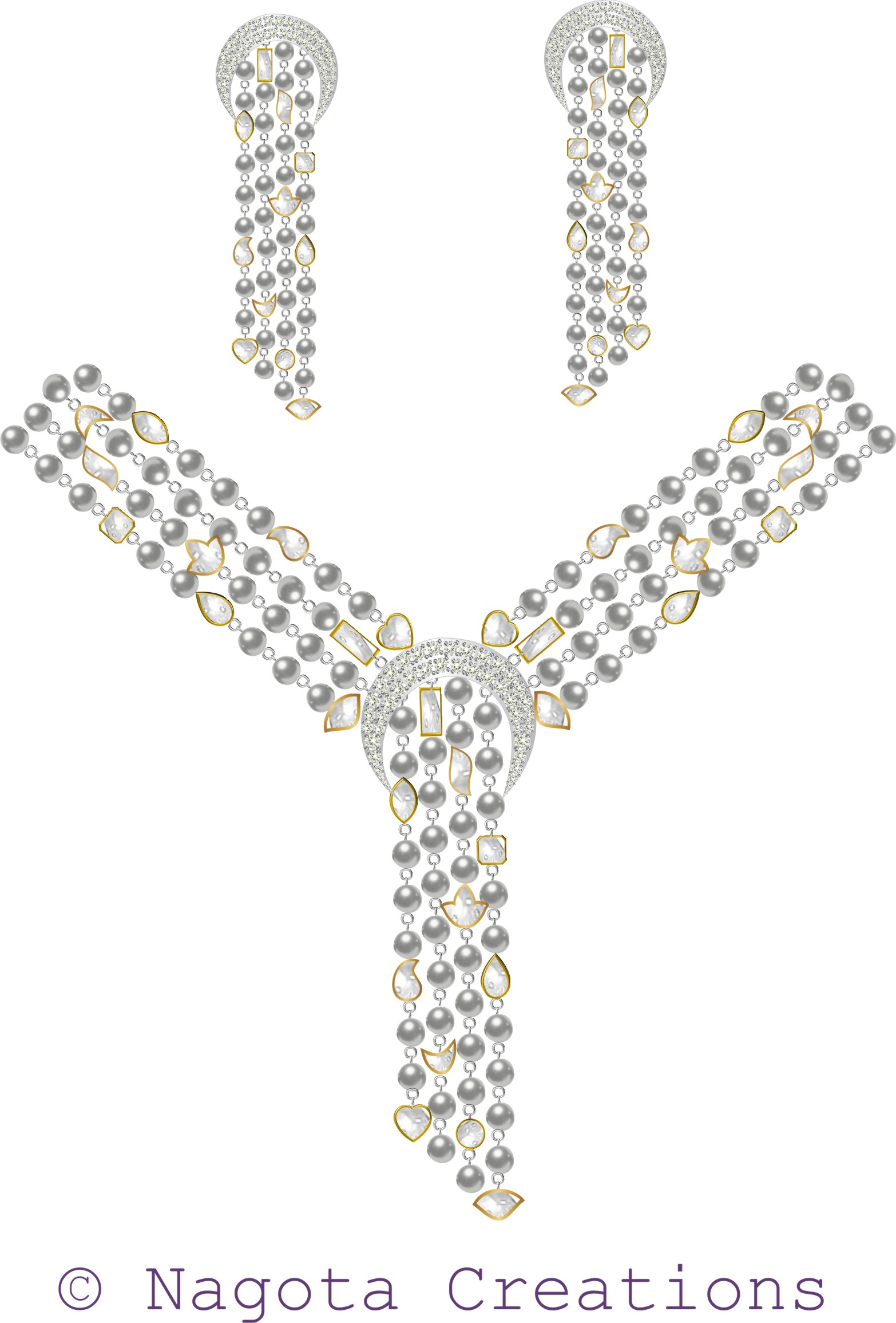 Pearl and Kundan Meena Unique Necklace Set with 18 Carat and 24 Carat