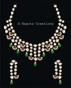 Kundan Meena - Bridal Necklace Set with Emerald , Ruby and Diamond Polkis
