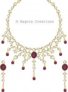 Kundan Meena Bridal Necklace Set with Rhodolite