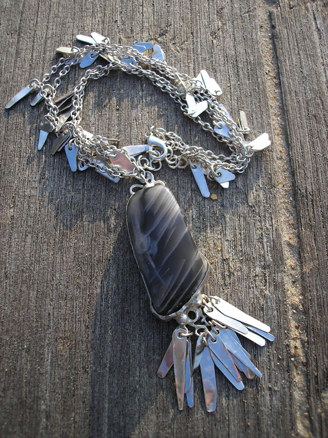 Silver and moonstone necklace
