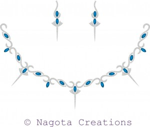 White Gold - Necklace Set with Blue Topaz and Diamond