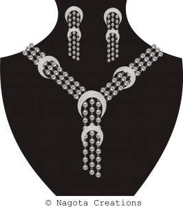 Pearl Necklace Set with White Gold and Diamonds