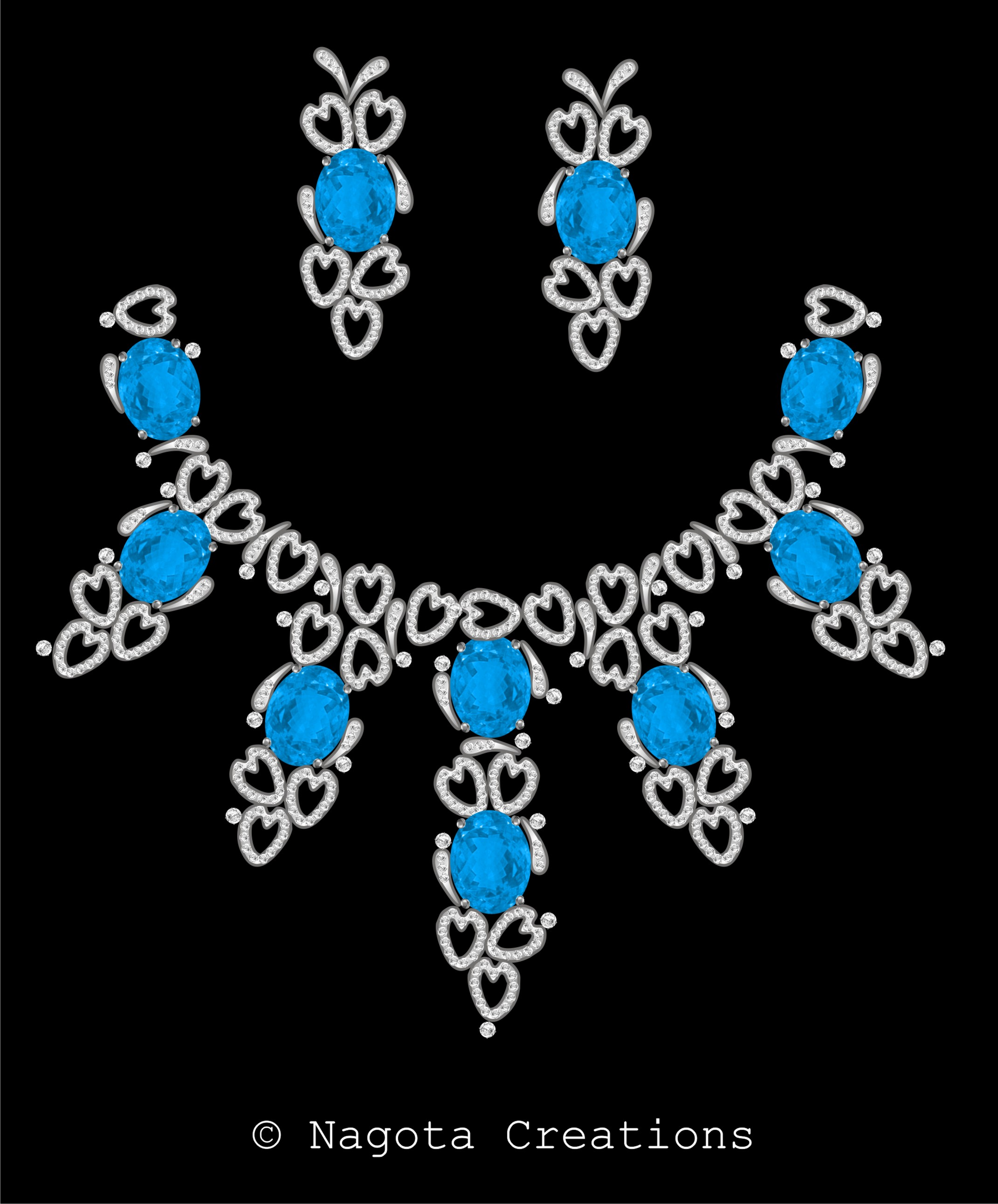 Bridal Necklace Set in white gold with Diamonds and Blue Topaz