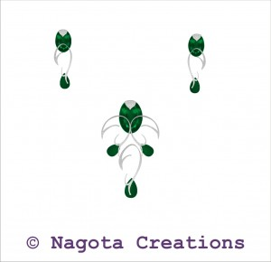 Pendant Set with White Gold , Emerald and Diamond