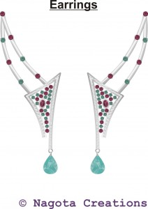 Unique and Beautiful Necklace Set with Rhodolite , Turquoise and diamond