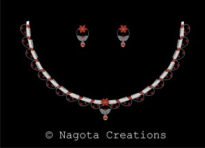 Unique Necklace Set with Diamonds and Ruby