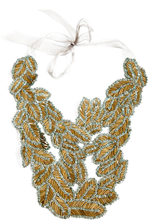 Beaded Leaf Statement Necklace, from Vera Wang's Fall Collection