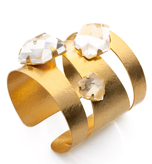 Cuff in gilded brass and natural rock crystals, by Herve Van der Straeten