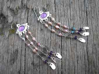 Silver,amethyst,paerl and labradorite earrings