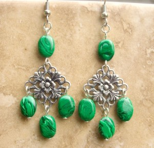 Faux Malachite Filigree Earrings