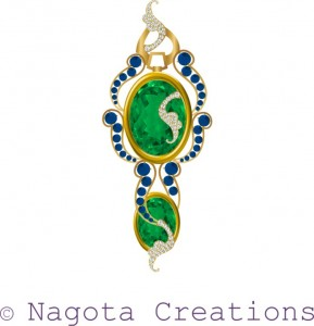 Yellow Gold Pendant with Unique Combination of Blue Sapphire , Peridot , Citrine and Diamond