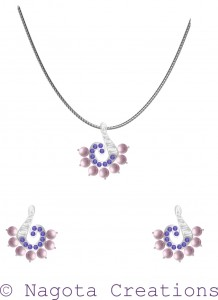 White Gold - Pendant Set with Pearl , Diamonds and Amethyst