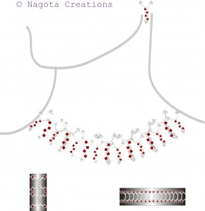 White Gold - Full Necklace Set with Ruby and Diamond
