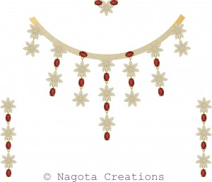 Bridal Necklace Set - Yellow Gold with Ruby and Diamonds