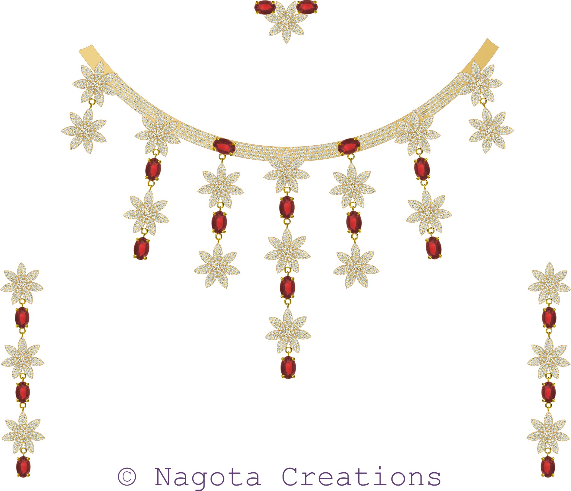 Ruby & Diamond Bridal Necklace Set in yellow gold