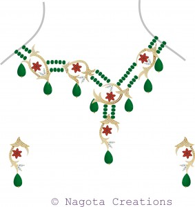 Unique & Beautiful Beaded Necklace Set with Yellow Gold , Emerald , Ruby and Diamonds