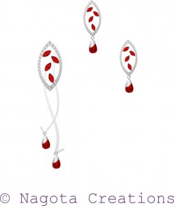 White Gold - Pendant Set with Ruby and Diamonds
